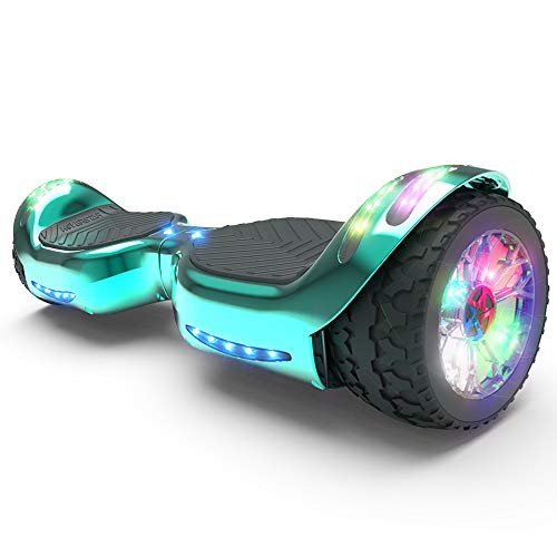 HOVERSTAR All-New HS2.0 Hoverboard All-Terrain Two-Wheel Self Balancing Flash Wheel Electric Scooter with Wireless Bluetooth Speaker (Chrome Turquoise Green)