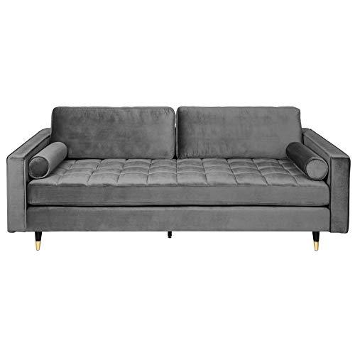 Invicta Interior Elegantes Design Sofa Cozy Velvet 225cm grau Samt Federkern 3er-Sofa Couch