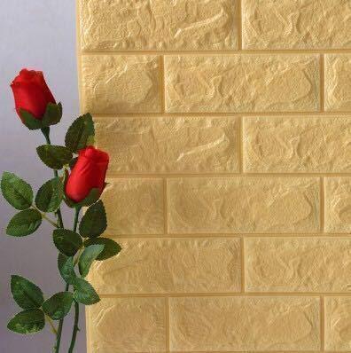 3D Tapete Wandpaneele selbstklebend - Moderne Wandverkleidung in Steinoptik in 7 verschiedenen Farben - schnelle & leichte Montage (10x Stück, Gelb)