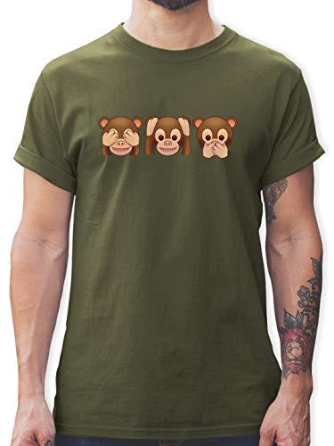 Comic Shirts - Äffchen Emoticon - L - Army Grün - Tshirt Jungs 176 - L190 - Tshirt Herren und Männer T-Shirts