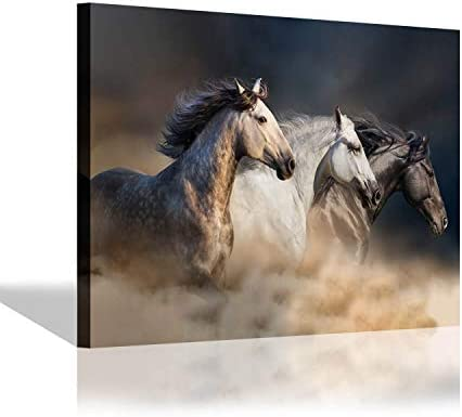 SD SOFT DANCE Horses Running Canvas Wall Art Brown Horses Picture Painting Print Artwork for product image