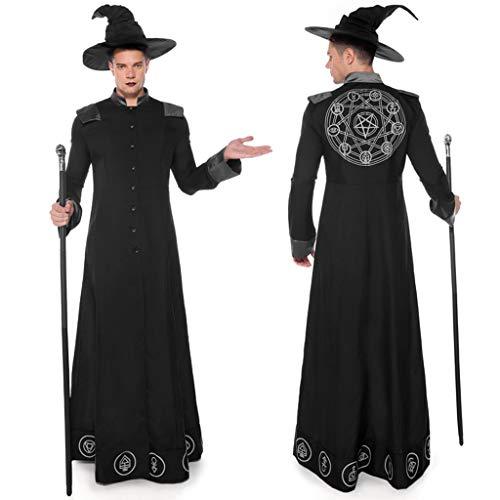 Disfraces de Halloween para Hombres Mágicos Disfraz de Mago Monje Onesies Negra de Mágico Sacerdote Traje de Bruja Hechiceros de Ropa Medieval Hombre para Fiesta de Halloween Carnaval (XL, Nergo)