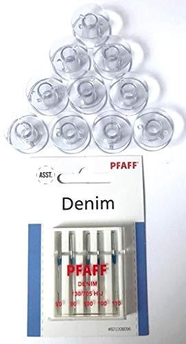 10x Kunststoff Spulen + Original Pfaff Jeans Nadeln für Pfaff Nähmaschinen Hobby 1122, 1132, 1142, 1022, 1032, 1042