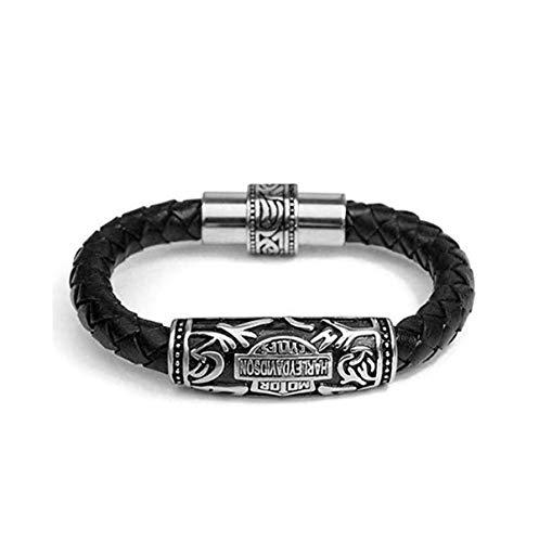 XXDGL-Herren Rindsleder Gewebt Vintage Rope Europäischen Und Amerikanischen Armband-20 Cm