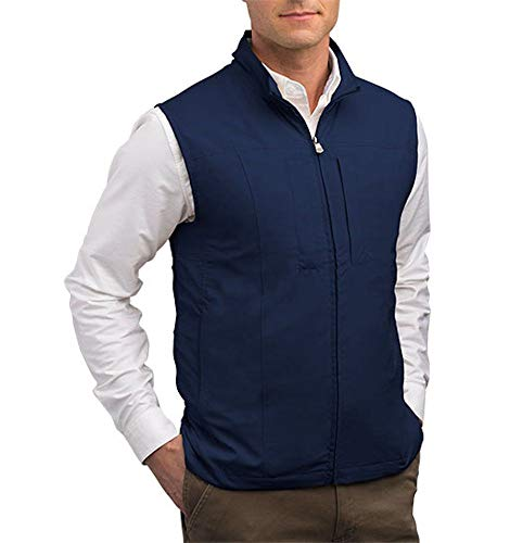 SCOTTeVEST Men's RFID Blocking Vest w/ 26 Pockets - Travel Vest (NVY, XL)