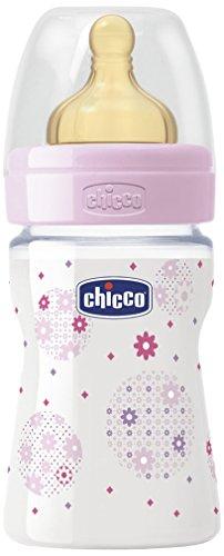 Chicco Wellbeing - Biberón con tetina de látex y flujo normal para bebé de 0m+, 150 ml, color rosa