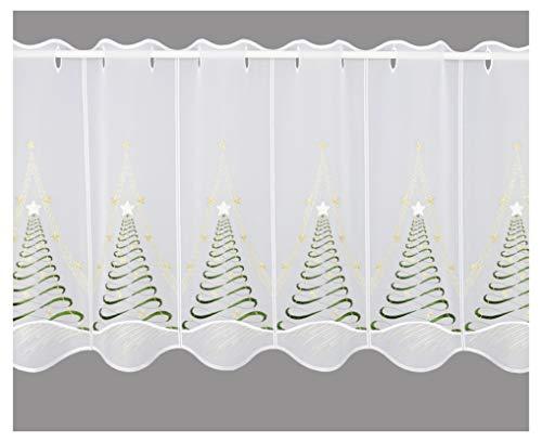 Moderner Scheibenhänger Kurzstore Tannenduft bestickte Scheibengardine aus Plauener Spitze (Höhe x Breite: 45 x 112 cm)