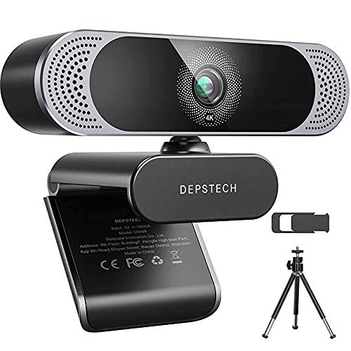 4K Webcam, 2021 DEPSTECH HD 8MP Sony Sensor Autofocus Webcam with Microphone, Privacy Cover and...
