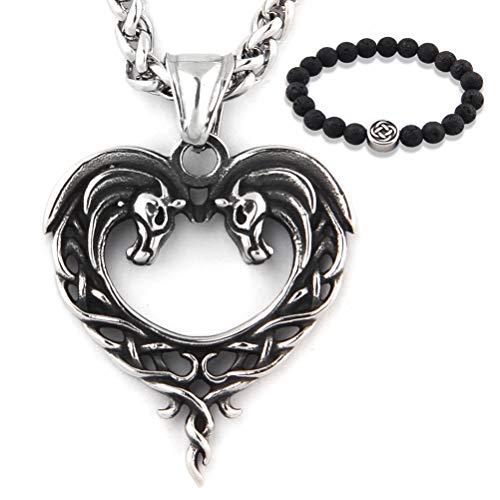 GUNGNEER Stainless Steel Celtic Knot Necklace Heart Horse Pendant Trinity Jewelry Infinity Amulet Talisman Men Women