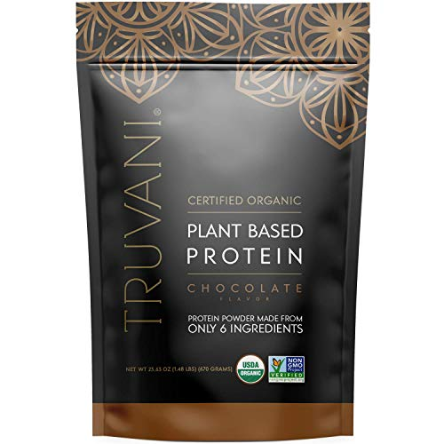TRUVANI Plant Based Protein Powder | USDA Certified | Organic Protein Powder | Vegan, Non-GMO, Gluten Free Protein Powder | Perfect for Rebuilding & Refuelling Muscles | 20 Servings - Chocolate