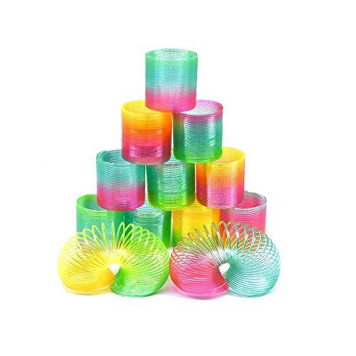 Erlliyeu12 Stück Regenbogenspirale Springs Magic Rainbow Puzzle Lernspielzeug für Party Tasche Füllstoffe Spielzeug, Kunststoff … (Round)