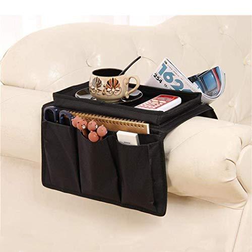 Organizer per divano o poltrona da posizionare sul bracciolo, con vassoio da tavolo, 5 tasche, ideale per riporre telecomando, telefono, libri, riviste, occhiali e snack Nero