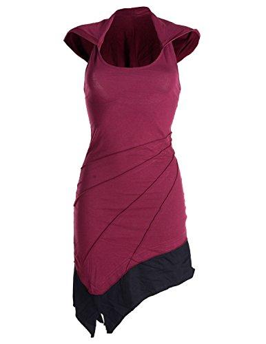 Vishes – Alternative Bekleidung – Asymetrischer Neckholder aus Baumwolle mit Zipfelkapuze – zweifarbig dunkelrot 42/44