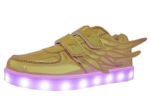 WINNEG Scarpe con Ali, USB Ricaricabile LED Luminoso Sneakers alle Ali per Ragazzi e Ragazze, Oro (Oro), 33 EU