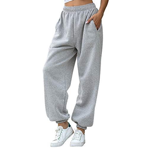 Nuofengkudu Mujer Harem Térmicos Jogging Pantalones Forro Polar con Bolsillos Elastica Cintura Alta Comodo Llanura Largos Pantalón Deportiva Jogger Pants Sweatpants Casual Ropa de Casa(Lana-Gris,M)