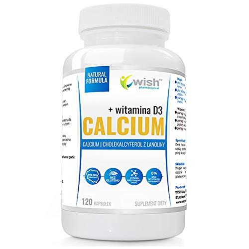 Wish Pharmaceutical Calcium + Vitamin D Förpackning om 1 x 120 Kapslar - Kalciumkarbonat och Vitamin D Från Lanolin Cholecalciferol utan Salt och Socker