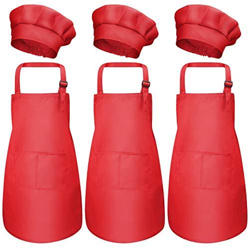 3 Set Niños Delantal y Gorro de Cocinero, Ajustable Infantil Delantal de Cocina con Bolsillos para Niñas, Niñito Delantales de Chef Jardín para Cocinar Hornear Pintar Artesanía (3-6 Años) (Rojo)