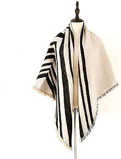 WUNONG-AU Geometric Pattern Shawl Thick Warm Scarf Winter Imitation Cashmere Striped Scarf (Color : Beige, Size : 145cm)