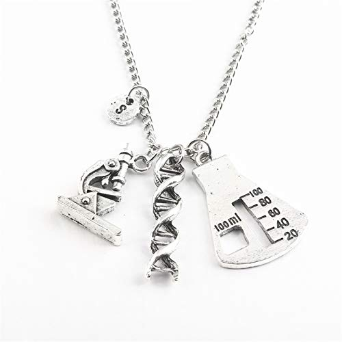 LJJYD Biologie-Halskette mit niedlichem Spiral-DNA-Mikroskop-Messbecher-Zubehör, ideale Halskette für Lehrer-Schüler-Freund