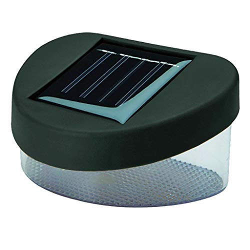 FLAMEER Solar Fence Lights, Waterproof Led Solar Lamp for Outdoor Pathway, Yard, Patio, Stairs, Step and Wall - Black