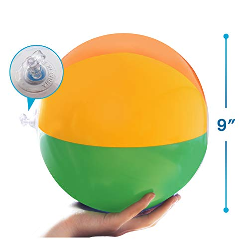 """Novelty Place Inflatable Beach Balls - 12 Pack, 9"""" Diameter, Bright Rainbow Colored, Leak-Proof PVC - Summer Seaside Beach Pool Party School Supplies, Floating Toys for Toddlers, Teenagers"""