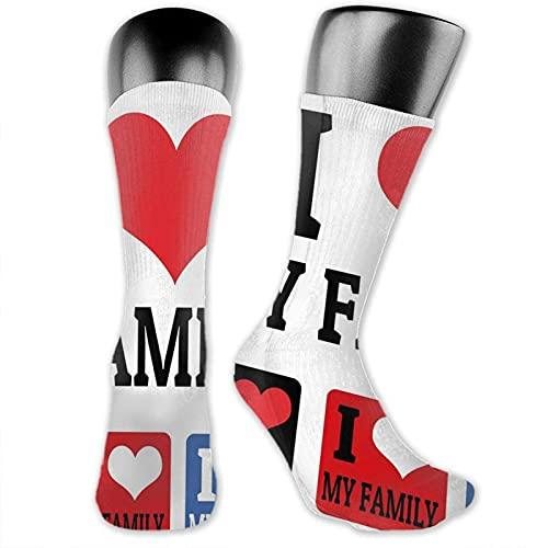 XCNGG Socken Compression Medium Calf Crew Socke, Schilder und Etiketten Ich liebe meine Familie Embleme Stempel Bunte Retro Classic Komposition