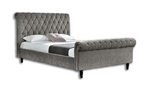 Barron Beds Crushed velvet or chenille scroll sleigh bed frame and two types of fabric to choose from … (GREY CHENILLE FABRIC, 4FT6 DOUBLE)