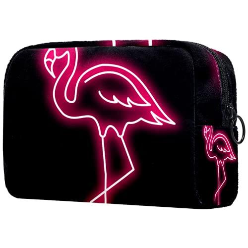 Bolsa de cosméticos Bolsa de Maquillaje para Mujer para Viajar Llevar cosméticos Cambiar Llaves, etc.,Pink Flamingo Vector Neon