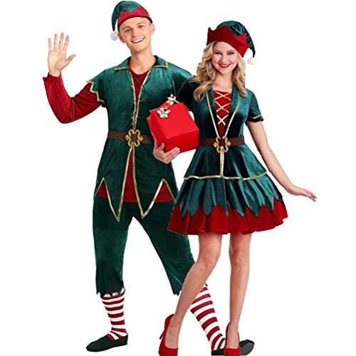 HEITIGN Costume da Elfo di Natale, Lussuoso Bellissimo Vestito da Elfo Costume Set Vestito Rosso Verde Vestiti per Uomini/Donne Adulti Completo Kit Costume Cosplay Spettacolo, XL, Uomini