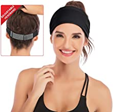 IUGA Adjustable Headbands for Women, Moisture Wicking Fashion Hairband, Yoga Headband, Head Wrap Women, Workout Headband (Black)