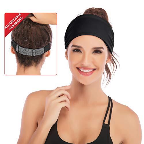 IUGA Adjustable Headbands for Women, Double Sided Fashion Hairband, Yoga Headband, Head Wrap Women, Workout Headband (Black New)