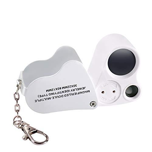 Jiusion Portable beleuchtete LED beleuchtete Schmucklupe 30X 60X tragbare Handlinse mit Augenlinse Lupe Mikroskop mit Schlüsselbund und Schlüsselband