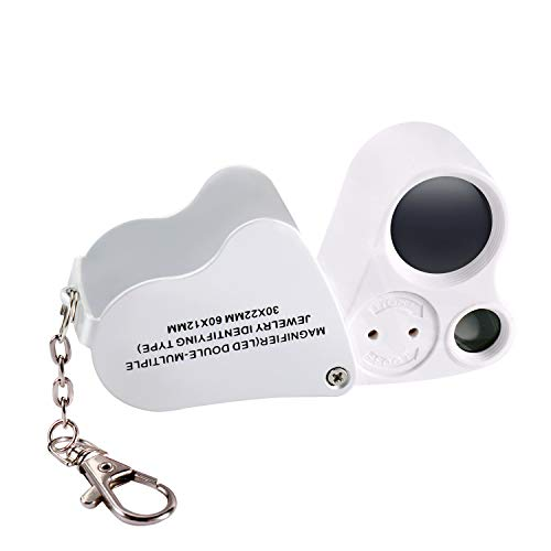Jiusion Portable Lighted LED Illuminated Jewelry Magnifier 30X 60X Wearable Handheld Dual Lens Eye Loupe Magnifying Glasses Micro Microscope with Keychain and Lanyard