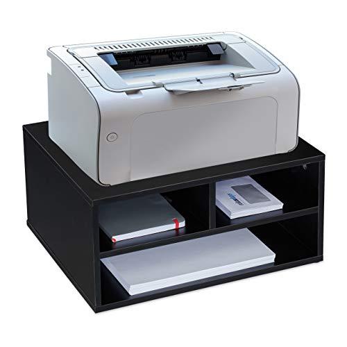Relaxdays Druckerständer Schreibtisch, 3 Fächer, Regal für Drucker, MDF, Druckerhalter, HxBxT 22,5 x 47 x 40 cm, schwarz, 1 Stück