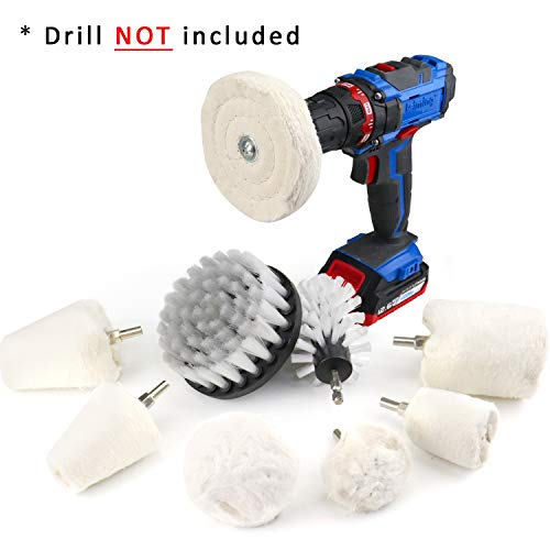 9PCS Buffing Wheel for Drill, Flannelette Polishing Wheels Mixed Polish Head and Soft Cleaning Brush...