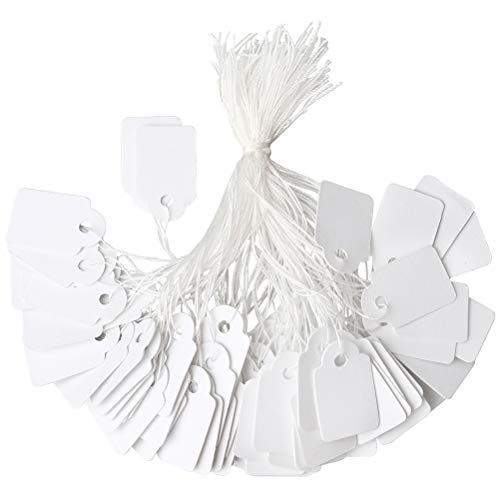 Hugesavings 500 Pieces Jewelry Price Tags, Marking Tags Clothing Display Tag Paper Price Labels with White Hanging String, 23 x 14mm