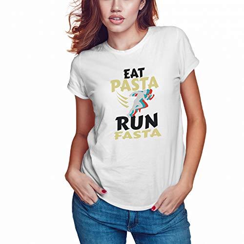 Eat Pasta Run Fasta Camiseta Blanca Mujer Size XL