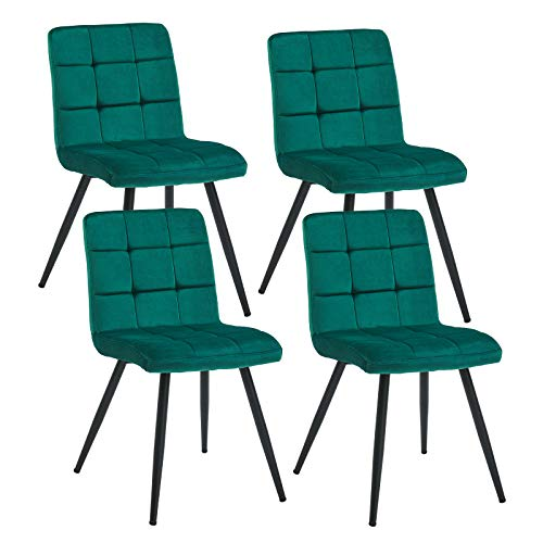 Duhome Upholstered Velvet Dining Chairs Reception Chairs, Tufted Accent Living Room Chairs with Metal Legs for Living Room/Kitchen/Vanity Set of 4 Atrovirens
