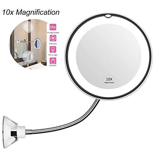soyin Espejo de Maquillaje LED con Aumento de 10X, Espejo de tocador del Cuarto de baño con la Ventosa Fuerte y el Cuello de Cisne Flexible Ajustable 360 °,Espejo de Maquillaje inalámbrico (White)