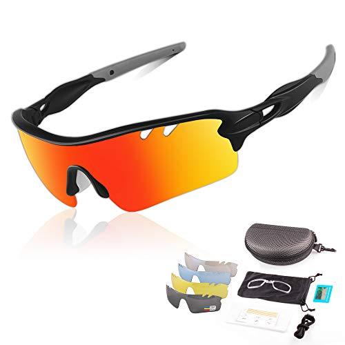 DUDUKING Occhiali da Sole Ciclismo Polarizzati Sportivi per Uomo e Donna con 5 Lenti Colorati Anti-UV Antivento Aviatore Specchio per Ciclismo Guida Pesca Running Golf Bici Moto