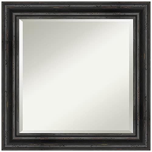 Amanti Art Framed Vanity Mirror | Bathroom Mirrors for Wall | Rustic Pine Black Mirror Frame | Solid Wood Mirror | Medium Mirror | 25.38 x 25.38 in.