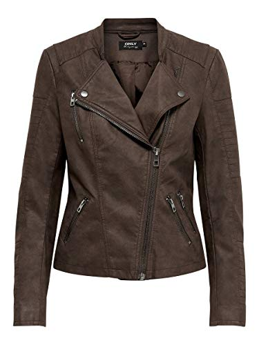 ONLY Damen ONLAVA Faux Leather Biker OTW NOOS Kunstlederjacke, Chicory Coffee, 38
