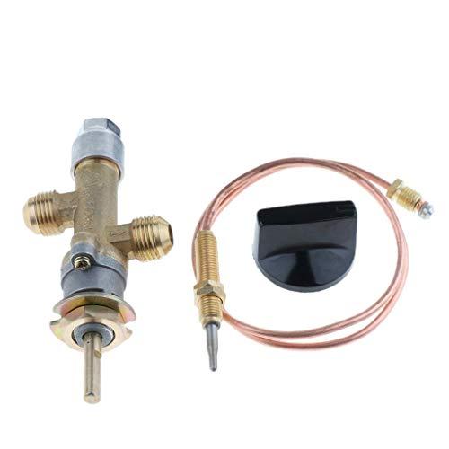 Yongenee Válvula de Control de Gas con termopar y Gallo Interruptor de la Perilla, el Kit de válvula GLP Baja presión de Gas propano de Seguridad, con la Llamarada Rosca 5/8' -18UNF Entrada y Salida