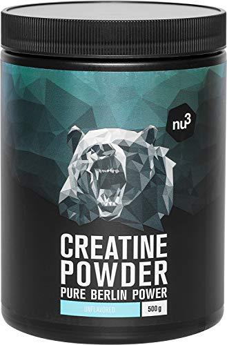 nu3 Creatine Pulver - 500g Kreatin Pulver - 100% reines Creatin Monohydrat von Creapure - für schnellkraft erforderliche Sportarten wie Bodybuilding & Fitness - frei von Zucker - Geschmack Unflavoured