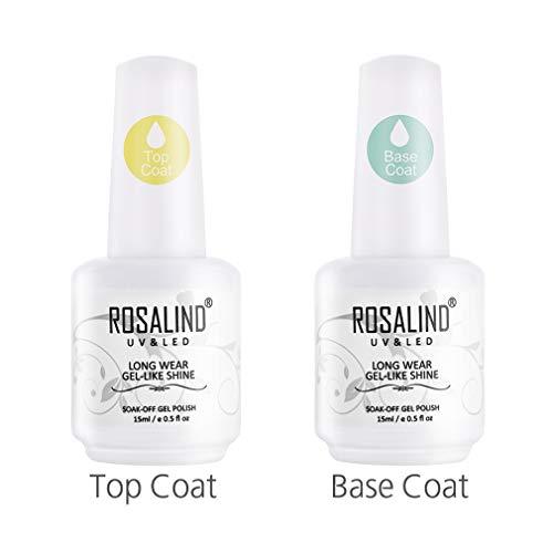 ROSALIND Nail Art Überlack und Unterlack Semi-Permanent UV Gel Nagellack 2 × 15ml