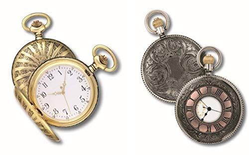 OPO 10 - Lote de 2 Relojes de Bolsillo con Fuelle, réplicas de Relojes Reales de antaño: Dimensiones 9.8x12.3x2.3H (Ref: 201 + 202)