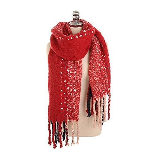 Alvnd Mode in boven gezellig met kwast sjaal -mode winterdeken schaal zachte warme dikke sjaal verpakking chunky grote schaal, kleur optioneel 190 * 56cm Colour 3