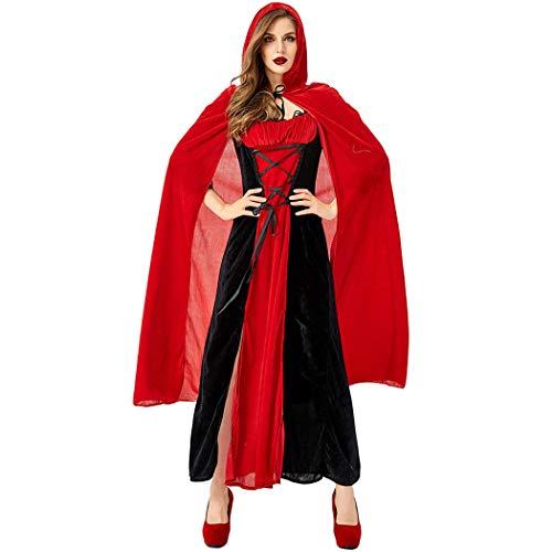 Jeff-chy Halloween kostuum nachtclub Queen Vampire Cosplay pak rood zwart met mantel roodkapje pak