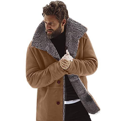 NREALY Jacket Mens Winter Sheepskin Jacket Warm Wool Lined Mountain Faux Lamb Jackets Coat(3XL, Brown)