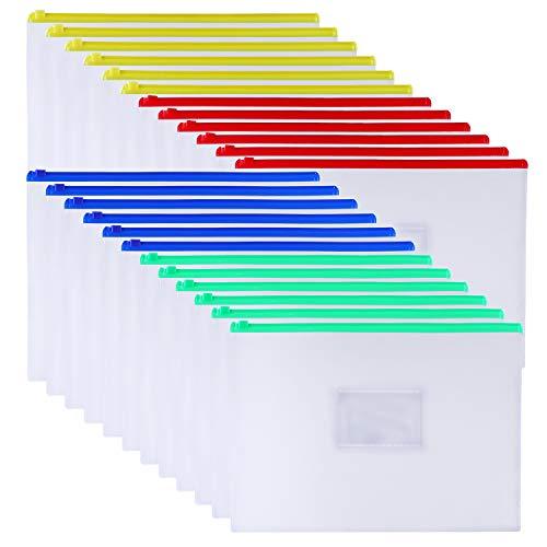 Antner 24pcs Zipper Envelopes Poly File Pockets Plastic Zip Envelopes Files Zipper Folders Pouch for A4 Size/Letter Size
